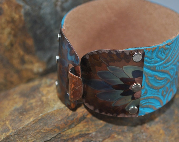 Flame Painted Copper and teal leather bracelet, embossed bracelet, colorful metal, boho