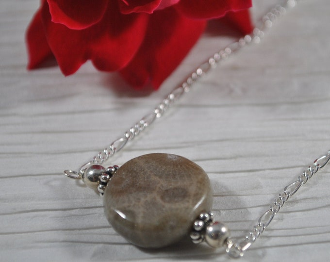 Delicate Petoskey Stone Bead Necklace on Sterling Silver chain  simple, boho, minimalist