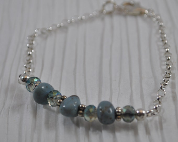 Leland Blue Stone bracelet with sterling silver chain, crystals, and sterling silver Bali beads, Michigan bracelet, keepsake