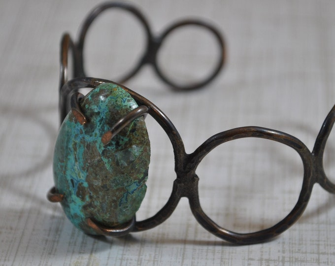 Turquoise Chrysocolla stone copper cuff,  rustic copper bracelet, metal work, boho, unisex