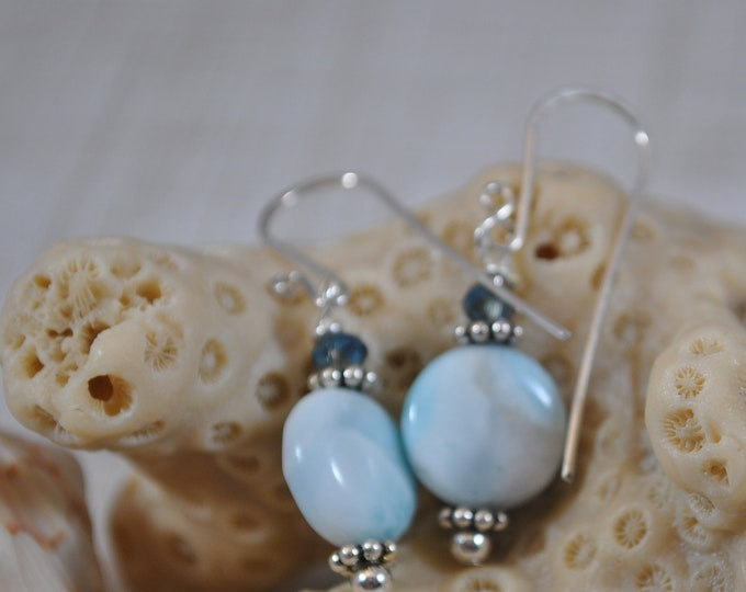 Larimar gemstone earrings, sterling silver, blue and white, handcrafted