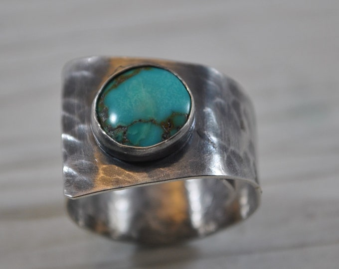 Sterling silver and turquoise adjustable ring, textured metal, boho, wide band, sterling jewelry, handcrafted