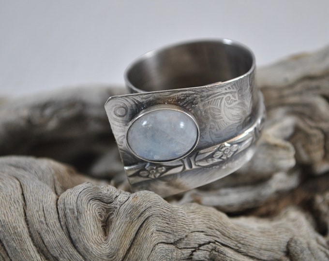 Sterling silver and moonstone adjustable ring, textured metal, boho, wide band, floral design, sterling jewelry, handcrafted