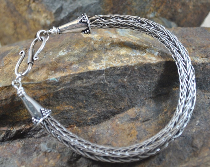 Sterling silver Viking Knit bracelet, wire jewelry, handcrafted