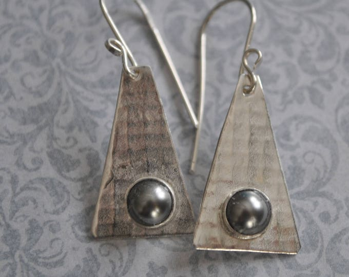 Sterling silver dangling earrings, textured metal earrings, pearls, artisan earrings