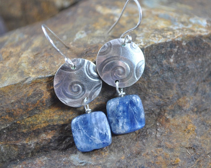 Blue Kyanite and sterling silver dangling earrings, textured metal earrings, swirl, artisan earrings