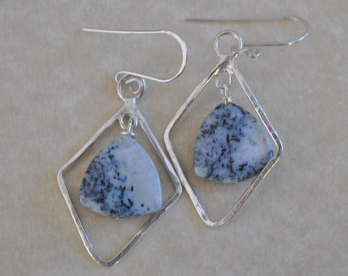 Ice agate and Sterling silver dangling earrings, artisan earrings, gemstone earrings
