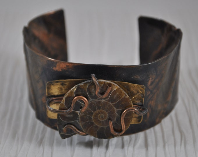 Ammonite Fossil copper cuff,  rustic copper bracelet, metal work, boho, unisex