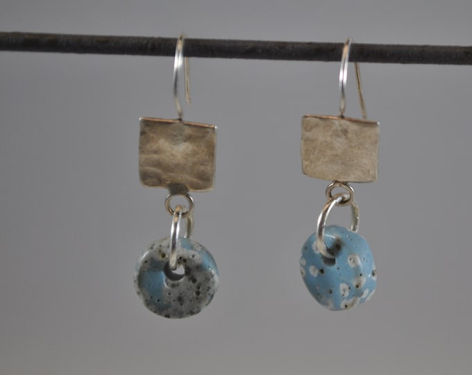 Lake Michigan Leland Blue stone dangle earrings with sterling silver squares, Up North, handcrafted