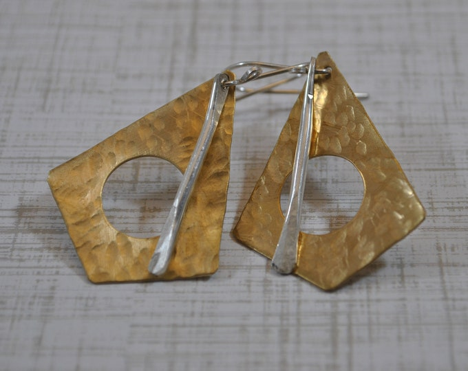 Mixed metal Brass and sterling silver dangling earrings, hammered metal earrings, artisan earrings