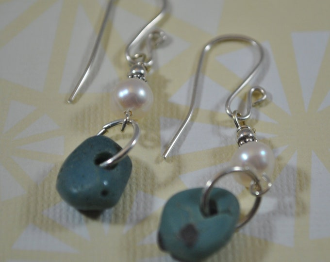 Lake Michigan Leland Blue stone nugget earrings with pearls, and sterling silver, Up North, Fishtown, blue slag