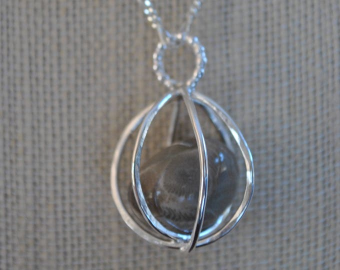 Petoskey stone and sterling silver pendant necklace, Up North, Michigan necklace, metal necklace
