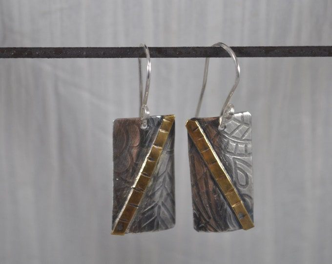 Sterling silver dangling earrings, textured metal earrings, brass accent, artisan earrings