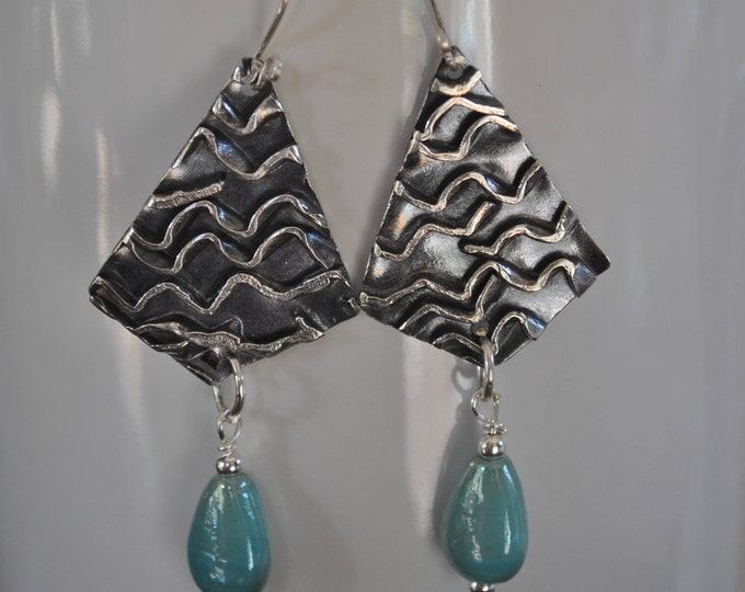 Sterling silver dangling earrings, textured metal earrings, artisan earrings, blue dangles