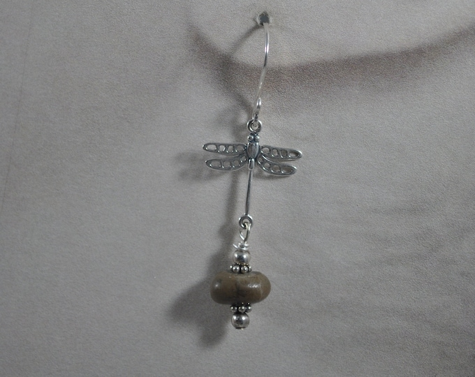 Petoskey stone and dragonfly earrings, Up North Michigan, Lake Michigan, sterling earrings