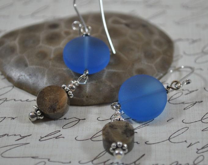 Lake Michigan Petoskey stone nugget and royal blue beach glass earrings, Up North Michigan, Lake Michigan