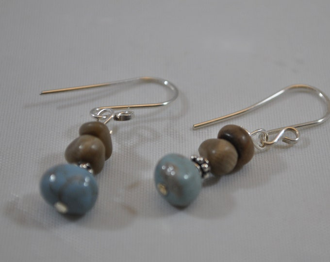 Petoskey stone earrings and Leland Blue stone with sterling silver beads, Up North earrings, Lake Michigan earrings