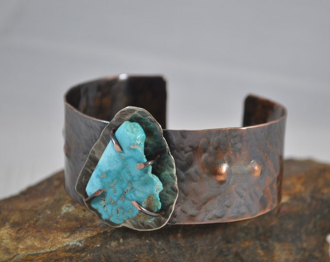 Rustic copper and genuine turquoise cuff, unisex
