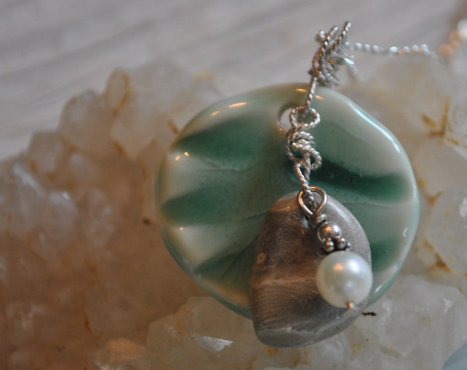 Petoskey stone necklace with handcrafted ceramic wave pendant,and freshwater pearl,  Michigan necklace, Up North