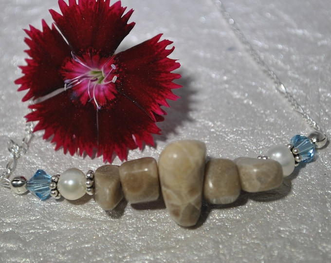 Petoskey Stone necklace, Petoskey stone nuggets, pearls, crystals, sterling silver, Michigan necklace, Up North necklace