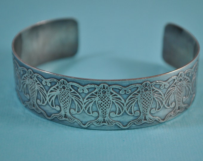 Sterling silver fish cuff ,  electro-etched bracelet, metal work, boho, unisex