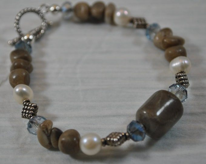 Petoskey Stone and blue bracelet with Petoskey stone nuggets, crystals, Bali sterling silver beads, Up North bracelet, Michigan