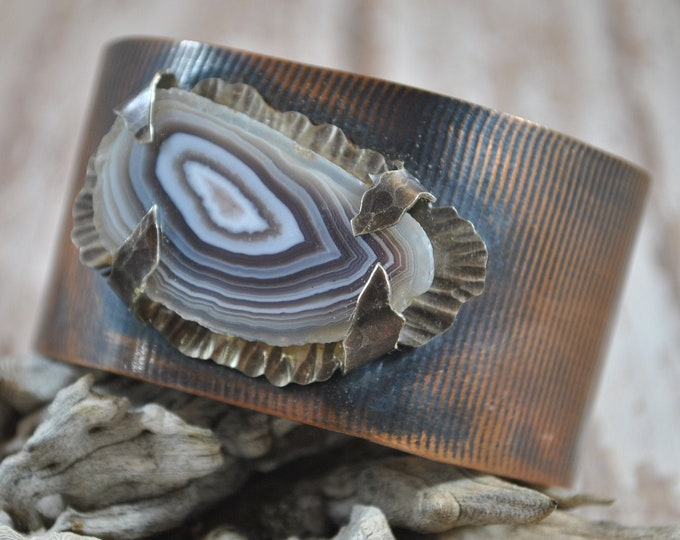Gorgeous geode slice copper cuff,  rustic copper bracelet, metal work, boho, unisex