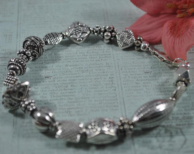 Bali sterling silver bracelet, OOAK, sampler bracelet, keepsake bracelet, handcrafted