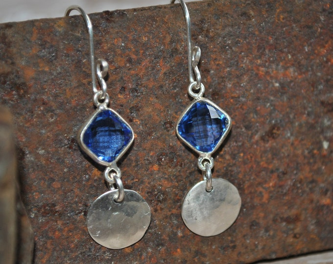 Sterling silver dangling earrings, textured metal earrings, navy blue, artisan earrings