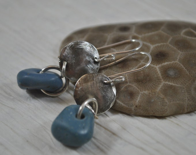 Lake Michigan Leland Blue stone dangle earrings with sterling silver circles, Up North, handcrafted, blue slag