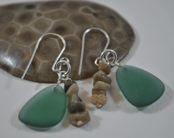 Lake Michigan Petoskey stone chips and medium blue beach glass earrings, Up North Michigan, Lake Michigan