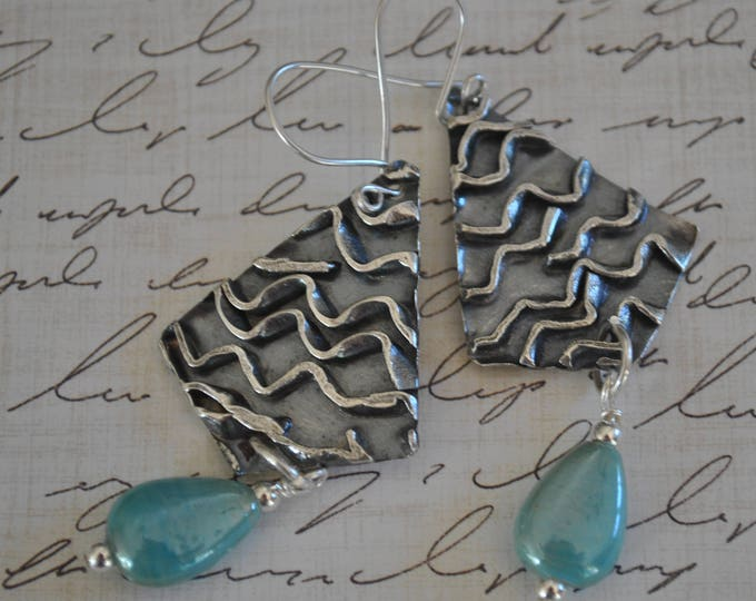 Sterling silver dangling earrings, textured metal earrings, artisan earrings, blue dangles