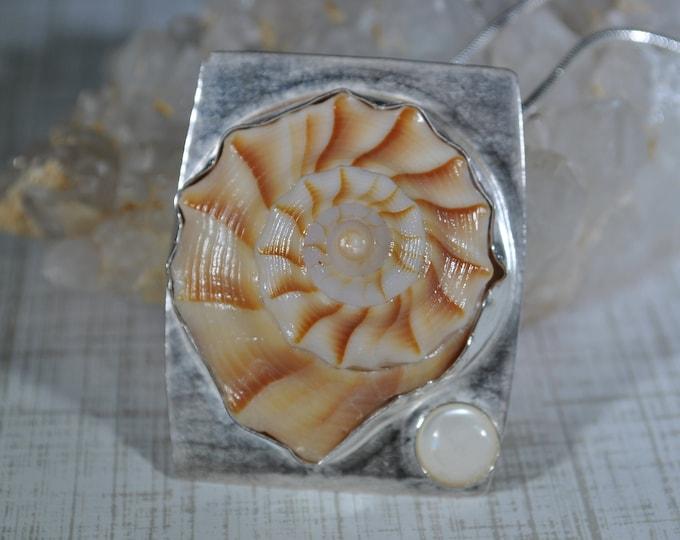 Florida shell necklace, sterling silver, Whelk shell, ocean, seashore, pendant