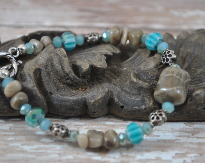 Petoskey Stone and turquoise blue bracelet with Petoskey stone nuggets, crystals, Bali sterling silver beads, Up North bracelet, Michigan