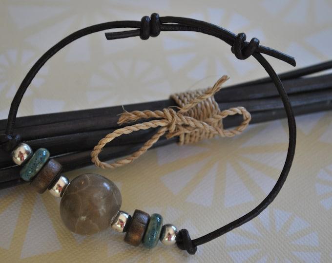 Petoskey Stone Bracelet on leather with sterling silver beads, Up North, bracelet, Michigan