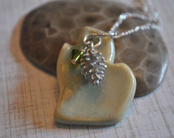 Michigan ceramic pendant with green crystal and pinecone charm, Michigan necklace, Up North, ceramic