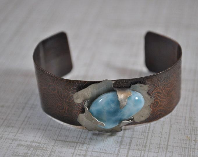 Larimar copper cuff,  rustic copper bracelet, metal work, boho, unisex, floral texture