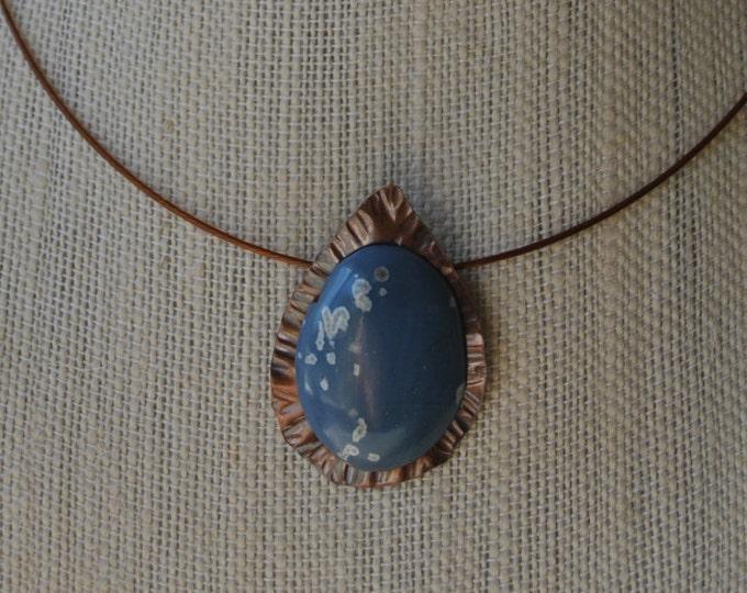Leland Blue stone and copper Pendant necklace, rustic, blue necklace, metal necklace