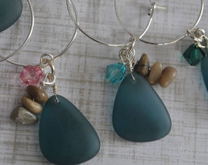 Petoskey stone and beach glass wine charms, blue recycled glass, Up North, Michigan