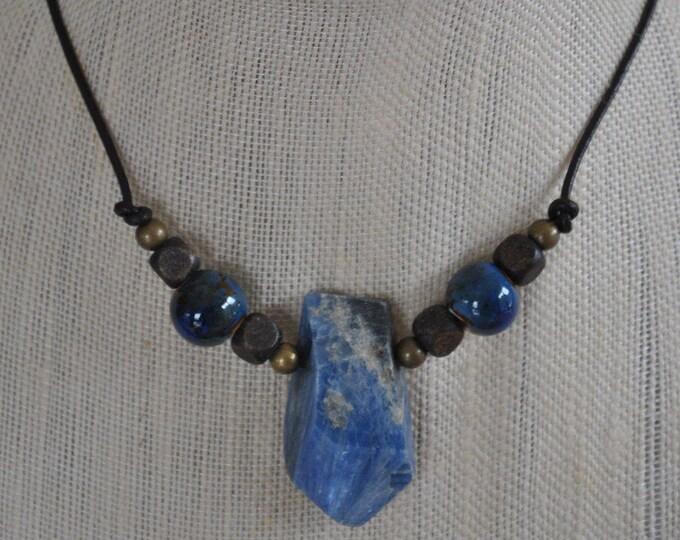 Blue Kyanite Men's Necklace, masculine necklace, ceramic beads, stone necklace