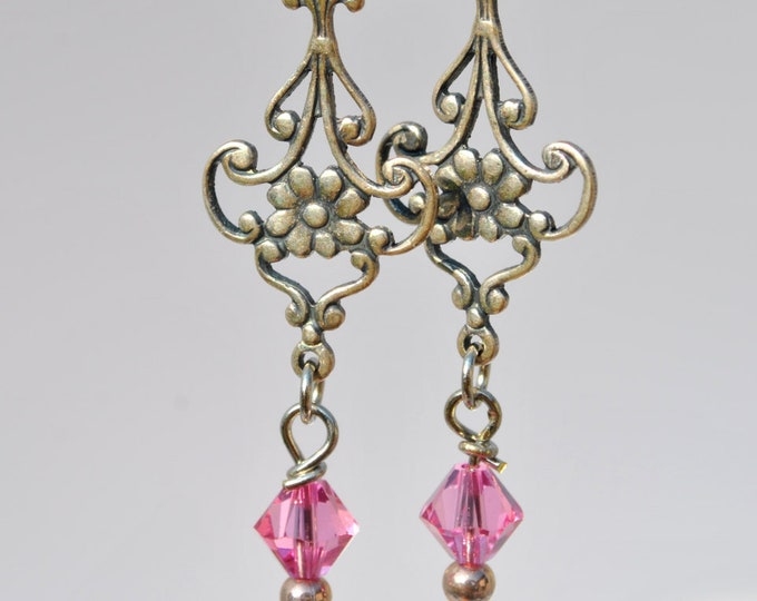 Floral Fuschia earrings with hot pink Swarovski crystals, delicate carved floral silvertone connectors