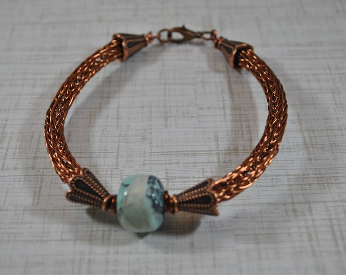 Antiqued Copper Viking Knit bracelet, wire jewelry, handcrafted, turquoise