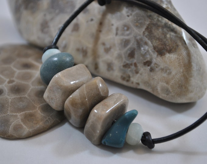 Leland Blue Stone and Petoskey bracelet with aquamarine and leather, Up North, Michigan bracelet