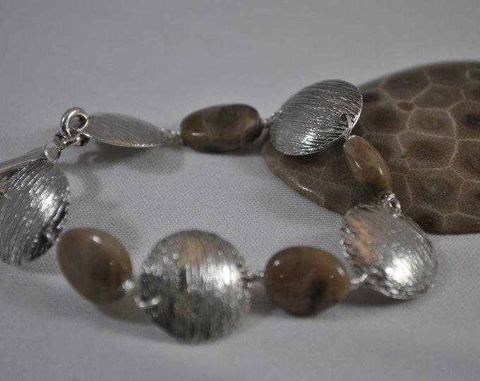 Sterling silver and Petoskey stone bracelet set,  electro-etched, handcrafted, OOAK