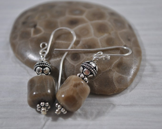 Petoskey stone earrings, Up North Michigan, Lake Michigan, sterling earrings
