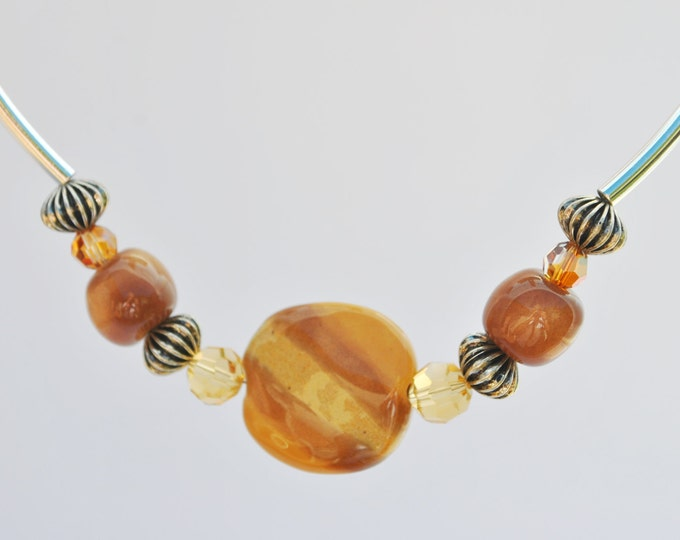 African Kazuri Ceramic Necklace Set with Autumn tones, crystals and silver-tone curved tube beads