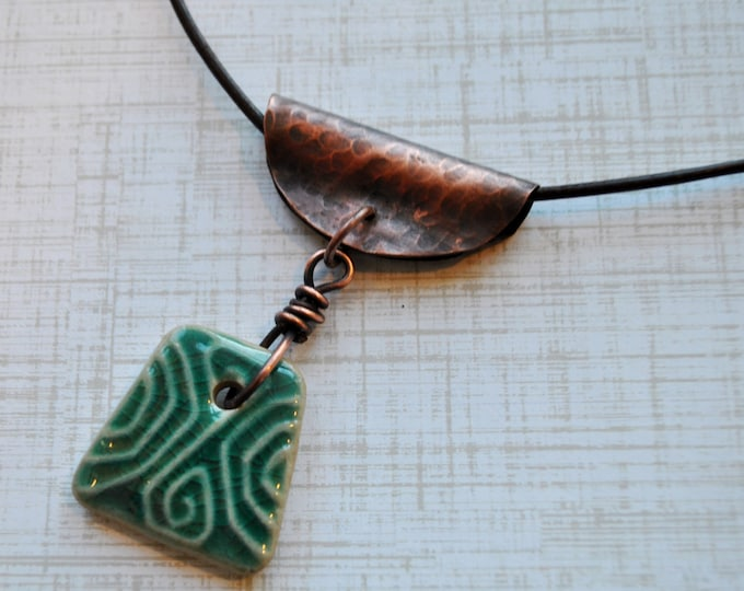 Green Ceramic Pendant with copper bail on a brown leather cord necklace, unisex, rustic