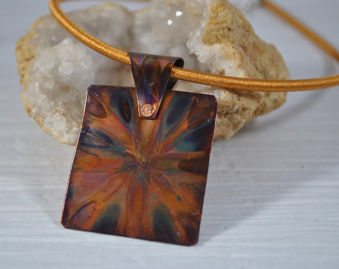 Flame Painted Copper pendant necklace, colorful, OOAK, gift, unique jewelry