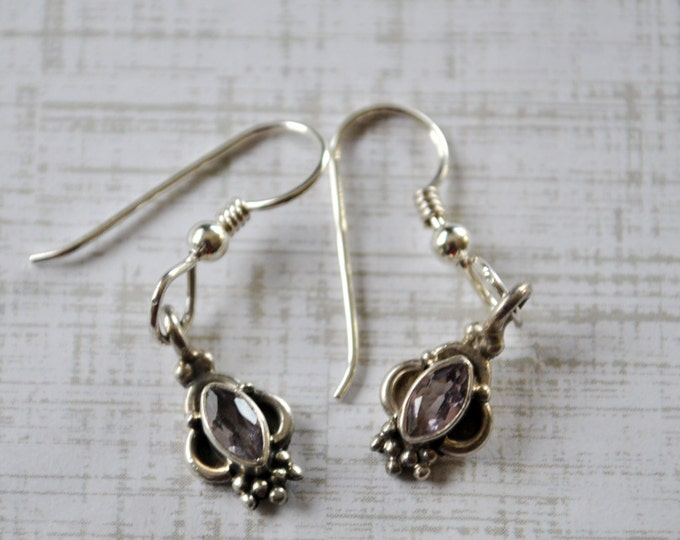 Tiny sterling silver earrings with lavender stone, everyday wear