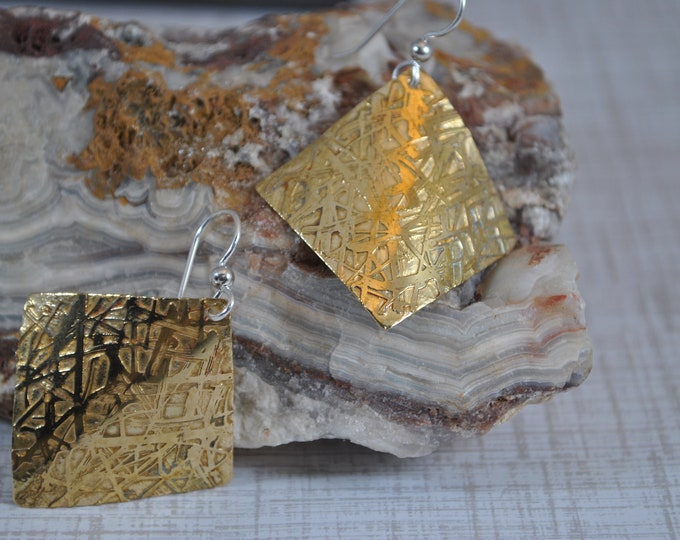 Etched Brass dangling earrings, gold metal earrings, artisan earrings
